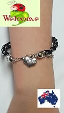BLACK AND SILVER INTERTWINDED SISTER BRACELET GREAT GIFT IDEA AUS SELLER 158box1