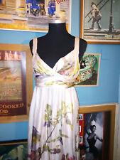 Zara Real Silk Grecian Maxi Dress Size Small Bold Floral Print