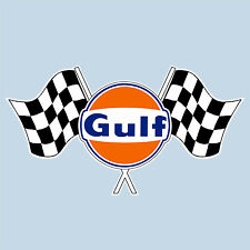 "Gulf twin chequered flag logo sticker 150 mm 6"" wide - Officially licensed decal"