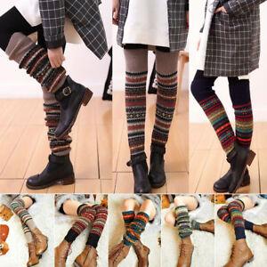 Retro Women Crochet Knit High Knee Leg Warmers Leggings Boot Socks Slouch UK