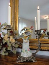 Kerzenleuchter Vogel Porzellan Bronze Kandelaber Papagei Kerzenhalter Antik Edel
