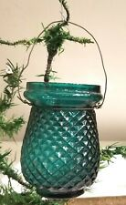 Victorian Christmas Oil Light Candle, Green Glass Diamond Quilted. Late 1890s