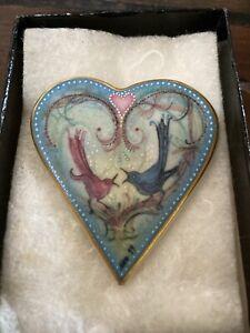 P Buckley Moss 1999 Society Heart Brooch & Pendant Lovebirds Anniversary Song