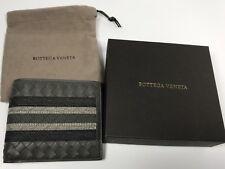 NEW BOTTEGA VENETA Intrecciato Leather Bi-Fold Wallet Dark Gray