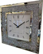 Square Diamante Crystal Jewel Mirror Wall Hanging Analogue Clock Diamond Glamour