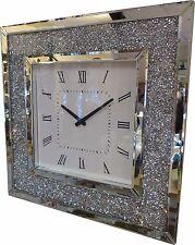 Square Diamante Crystal Jewel Mirror Wall Hanging Analogue Clock Diamond Glamour
