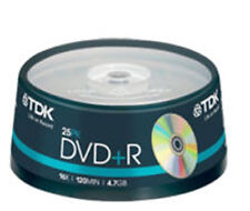 25 Spindle TDK DVD+R 4.7GB 120Min Blank DVDR Recordable Disc Discs DVDS Data