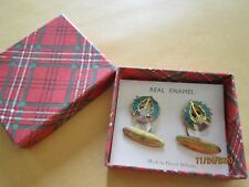 """REAL ENAMEL md in Great Britain Cuff Links Vintage Antique OLd but NIB 1x1/2"""""""