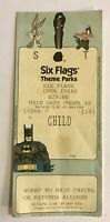 Six Flags Theme Park Used Vintage Ticket 1998 Batman Bugs Bunny Daffy Duck Paper
