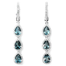 Sterling Silver 925 Genuine Natural London Blue Topaz & Lab Diamond Earrings