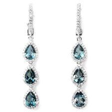 ARGENTO 925 Genuino Naturale LONDON BLUE TOPAZ & Lab Diamante Orecchini