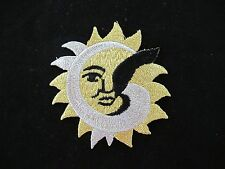 #3366 Golden,Silver,Black Sun Embroidery Iron On Applique Patch