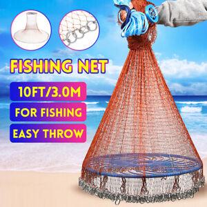 10FT 3.0M Hand Throw Fishing Net Nylon Tyre Mesh Bait Casting with Flyin