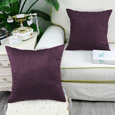 2pcs Square Pillows Cushion Covers Shell Heavy Faux Suede 45cmx45cm Teal