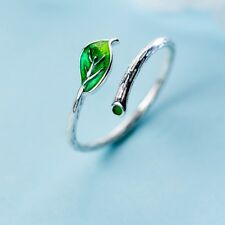 Fashion Green Leaf Ring Opening Adjustable Finger Ring Silver Jewelry Women Gift