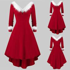 UK Womens Christmas Irregular Dress Xmas Party Long Sleeve Skater Midi Dress