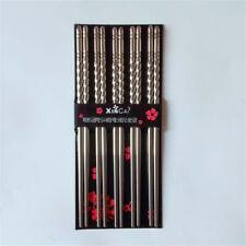 5 Pair of Metal Chopsticks Stainless Steel Reusable Korean Chinese Chop Sticks