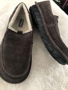 Crocs Men's Crocassin Boot Espresso Boot 11125 Suede Faux Fur Size US 11