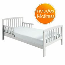 Classic Wooden Toddler Bed White + Deluxe Foam Mattress Kinder Valley Boys Girls