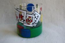 """Lolita """"Poker"""" Rocks Glass Hand-Painted Artwork Straight Flush Never Used Chips"""