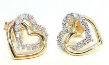 20% OFF 9CT HALLMARKED YELLOW & WHITE GOLD PAVE DOUBLE HEART 9MM STUD EARRINGS