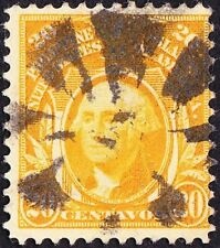 Philippines - 1909 - 20 Cents Yellow George Washington Issue # 257 Fancy Cancel