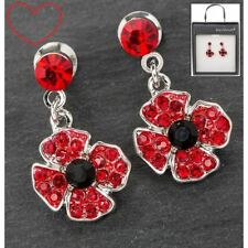 Poppy silver plated earrings remembrance gift