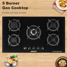 """36"""" Built-In Black Tempered Glass NG LPG Gas Stove Cooktop with 4 Burners"""