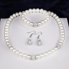 LC_ EG _ Donna Perle finte collane di orecchini con gancetto Bracciale