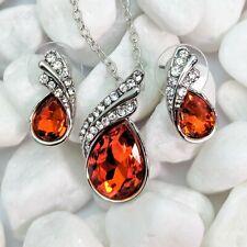 Silver Plated Orange Crystal And Rhinestones Teardrop Necklace & Earrings Set