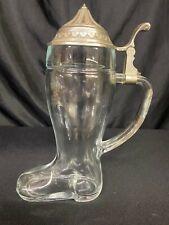 VINTAGE B M F BIERSTIEFEL WEST GERMANY GLASS BOOT BEER STEIN TANKARD MUG