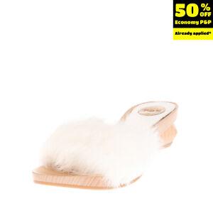 RRP €130 RAS Rabbit Fur Clog Sandals EU 37 UK 4 US 7 Geometric Heel Open Toe