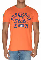 Superdry Upstate Wash Crew Neck T-shirt Print Crew Neck Cotton Tee Orange