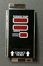 IGT Slot Machine 6-6-3 Winner Paid Credits Played Display Side Glass w/ Bracket
