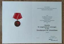 Blanko Urkunde für Medaille für ausgezeichnete Leistung der Kampfgruppen der DDR