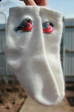 Women's SOCKS ANGORA RABBIT BUNNY soft warm white bullfinch 7-9 US