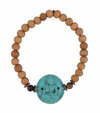 Fair Trade Sandalwood Elasticated Bracelet with Turquoise Medicine Buddha