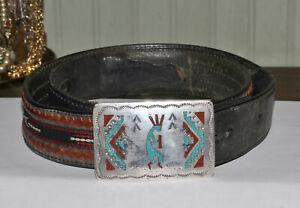 Vintage Sterling Silver Navajo Kokopelli Chip Inlay Buckle & Silver Creek Belt