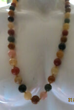 quartz necklace,10mm/ yellow, green , browns, amber, freesize/76cm.10mm rounds,