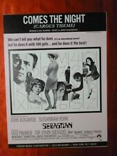SEBASTIAN Movie JERRY GOLDSMITH Sheet Music 1967 COMES THE NIGHT Dirk Bogarde