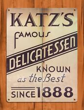 "TIN SIGN ""Katz's Delicatessen"" New York Deli Rustic Kitchen Wall Decor"