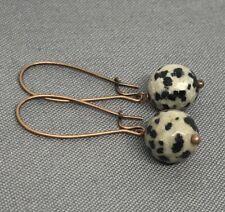 Min Favorit Dalmatian Jasper Faceted Bead & Antique Copper Artisan Earrings