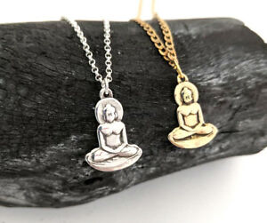 2 x 925 Sterling Silver Buddha 18 inch Necklace & Pendant + Brass Yoga Jewelry