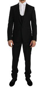 NEW DOLCE & GABBANA Suit Black Wool Silk MARTINI Slim Smoking IT48 / US38