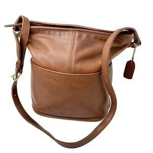 Coach Vintage 1980's British Tan Leather Bucket Handbag