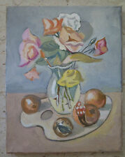 Painting Vintage Oil on Linen Blossom Floral Years Settanta 70 Warranty p6