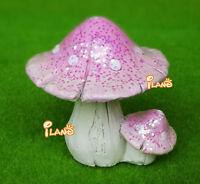 Dollhouse Miniature Pink Sparkle Mushroom Fairy Garden Resin Doll Accessory