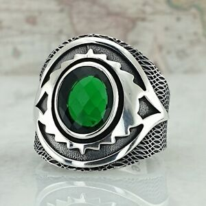 Solid 925 Sterling Silver Green Emerald Gemstone Handmade Mens Ring AAA Quality