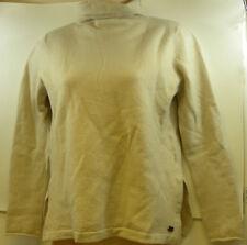 Carve Designs Wool Beige Cream Drake Turtleneck Sweater Medium Green Elbow Patch