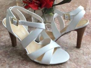 New Worthington Women's Ivory Leather Strap Open Toe Sandals Size 9M #023-5709